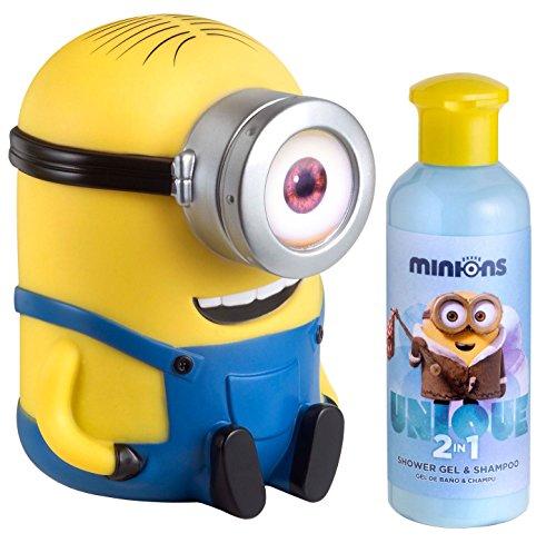 Air-Val, Set di salvadanaio a forma del Minion Stuart e doccia-shampoo per bambini, 200 ml