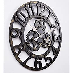 16 Round Wall Clock, Antique Handmade Wooden Vintage 3D Gear Design, By Chevy K. (Gold with Numbers)
