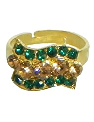 Green And Brown Stone Studded Adjustable Ring - Stone And Metal