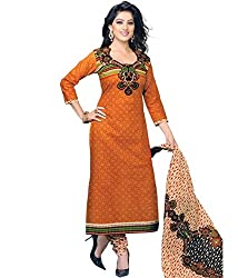 Shree Ganesh Womens Unstitched Dress Material (Orange_Free size)