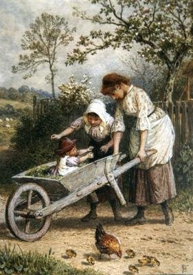 The Wheelbarrow by Myles Birket Foster - Art Print - Medium - 28x35cm