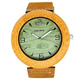 iBigboy Bamboo Wood Watch For Men w/ Green Face and Brown Leather Strap -