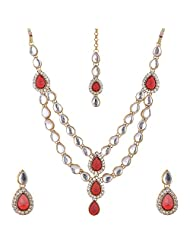 Lucky Jewellery Maroon Gold Plated Kundan Jewellery Set For Women