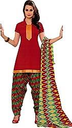Suryajyoti Women's Cotton Dress Material (Red_Free Size)