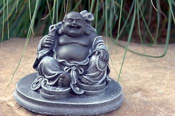 Tiefes Kunsthandwerk GbR's Buddha Garden ornament, Cast stone, Slate gray