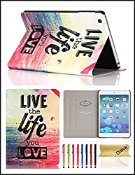 iPad Air Case, iPad 5 Case, Dteck(TM) Cartoon Cute Design Cards Slots Flip Stand Case with [Auto Wake/Sleep Function] PU Leather Protective Cover for Apple iPad 5/iPad Air(1 Live The Life You Love)