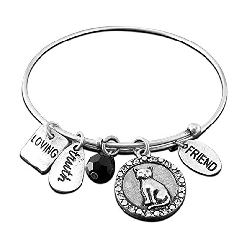 Cat Lovers Expandable Wire Bangle Bracelet With Charms Silver Tone
