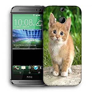 Snoogg Cute Cat Printed Protective Phone Back Case Cover For HTC One M8