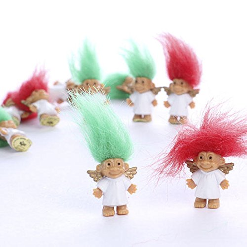 Package of 72 Adorable Miniature Red and Green Haired Mini Troll Angel Dolls Perfect for Christmas Gifts, Crafts or Holiday Favors.