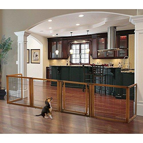Richell Richell Convertible Elite 6 Panel Pet Gate - Medium, Brown, Wood, Medium