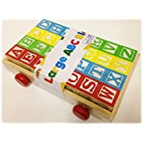 Large Classic ABC Stack N' Build Blocks Wagon - 27 pieces total