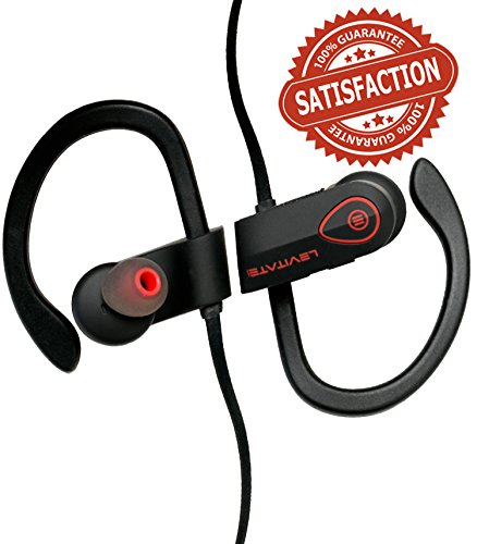 Bluetooth Headphones - PREMIUM Wireless Noise Canceling Earbuds - Best IPX7 Earphones Waterproof Sweatproof - For Running Jogging Workout Gym Sports Fitness - Warranty - Levitate Audio BH-900 (black)