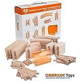 56 Piece Wooden Train Track Expansion Pack with Tunnel Fits Thomas Brio Chuggington Melissa & Doug Imaginarium Set by Orbrium Toys