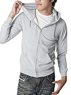 (ティーシャツドットエスティー) Tshirt.st ビビッドカラー 薄手で軽い着心地のジップアップライトパーカー 杢グレー M