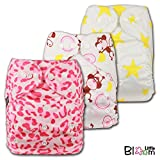 LittleBloom, Reusable Pocket Cloth Nappy, Fastener: Popper, Set of 3, Patterns 326, With 6 Bamboo Inserts, 6525