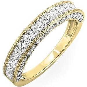 1.40 Carat (ctw) 14K Yellow Gold Princess & Round Diamond Ladies Wedding Matching Band Ring (Size 4.5)