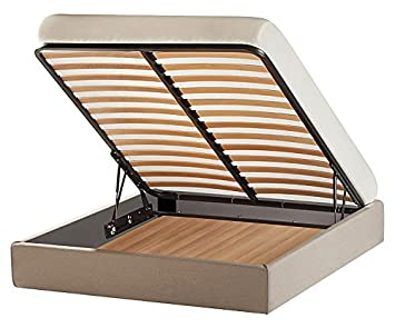 Letto Sommier con BOX CONTENITORE MATRIMONIALE senza testiera: misure 160x190 o 160x200, con rivestimenti a scelta completamenti SFODERABILI (Tessuto // ECOPELLE // Microfibra) + 4 piedini in legno H.6 cm - MADE IN ITALY, Robusto vera occasione! Lift ALZA