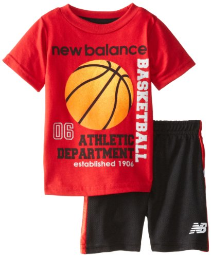 New Balance Baby-Boys Infant Jersey T-Shirt And Mesh Short Set, Black/Red, 12 Months