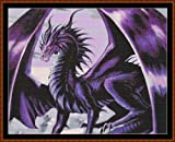 Cross Stitch Chart / Pattern - PURPLE DRAGON [ PDF on a CD ]