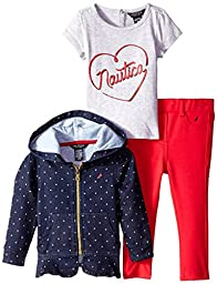 Nautica Baby Girls\' 3 Piece Set with Jacket, Tee and Denim Pant, New Blue, 24 Months