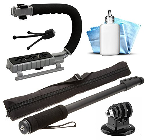 Selfie Monopod Stick Handheld Stick Pole + Opteka MoonGrip Action Stabilizing Video Handle + Mini Tripod + Dust Removal Cleaning Kit for GoPro Hero4 Hero3+ Hero3 Hero2 Hero 4 3+ 3 2 1 Camera Camcorder (Go Pro Hero 4 White Accesories compare prices)