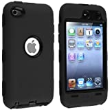 eForCity Hybrid Case compatible with AppleiPod touch4th Generation, Black Hard / Black Skin