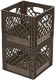 Buddeez MC01016BRN7533 Milk Crates, 16-Quart, Brown, 2-Pack