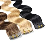 Scheda dettagliata 20 x Extension capelli veri biadesivo / Remy Tape Extensions, 2,5g, ondulati, 50cm - #1 nero