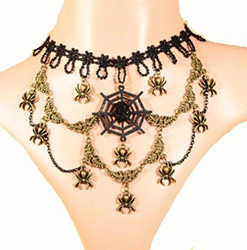 Modelli Black Lace gotico tessuto Spider bronzo Collane gioielli unici Girocollo
