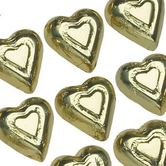 Gold Solid Milk Chocolate Hearts (1/2 Lb - Approx 30 Pcs) (Milk Chocolate Hearts compare prices)