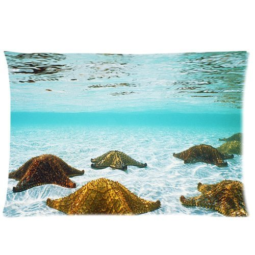 Generic Custom Starfish In The Beautiful Blue Sea Ocean Cool Design Printed Zippered Pillowcase Cushion Case 20*30(One Side) front-232466