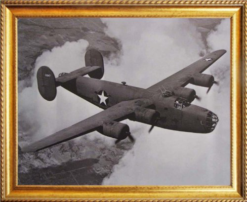 B-24 Liberator WWII Vintage Airplane Aviation Golden Framed Picture Art Print (18x22)