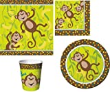 JUNGLE BIRTHDAY PARTY TABLEWARE PACK MONKEYIN' AROUND DESIGN PLATES NAPKINS CUPS TABLECOVER