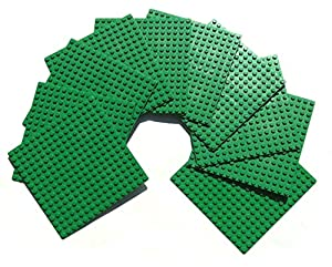 5-Inch By 5-Inch Green Dots Baseplate Lego®-Compatible 10 Piece Bulk Party Pack