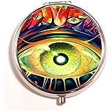 Death Metal Black Heavy Dark Horror Evil Poster Eye Eyes Round Fashion Pill Box Medicine Tablet Holder Organizer...