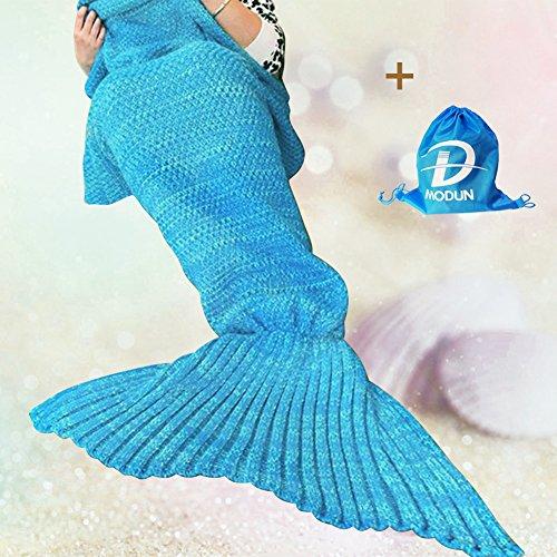 Stricken Mermaid Schwanz Decke Adult Style, Häkeln Wirft Decke für Wohnzimmer / Sofa / Schlafzimmer / Camping (Streifen Hellblau, 74.8x 35.4Zoll) thumbnail