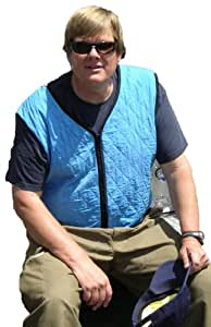 Cool Medics M1774F-SB-XL Unisex Zipper Front Cooling Vest, Sky Blue, Xlarge