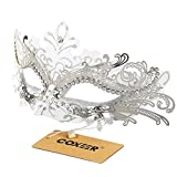 Coxeer Laser Cut Metal Lady Masquerade Halloween Mardi Gras Party Mask (White and Silver)