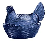 Miles Kimball Cobalt Blue Depression Style Glass Hen Candy Dish