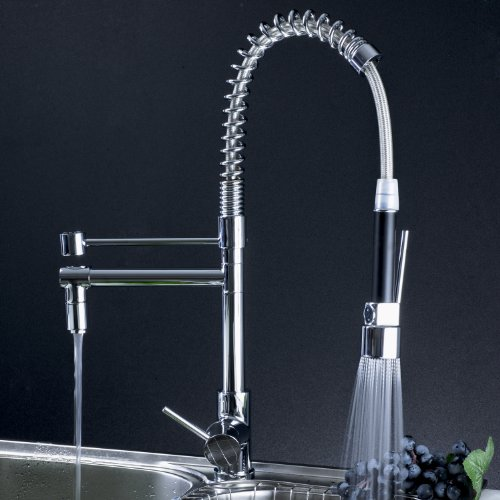 Single Handle Spring Pull Down Kitchen Bar Vanity Sink Faucet, Chrome