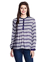 Chemistry Women's Button Down Shirt (C16-628WTTUN_Clover Stripe_Large)