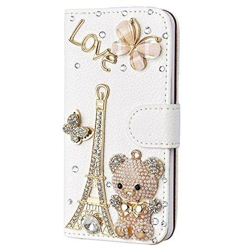 Luxury 3D Bling Iphone 6 Plus [5.5] Crystal Rhinestone Wallet Leather Purse Flip Card Pouch Stand Cover Case + Bonus Hundromi Logo Stylus(bear)