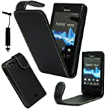 MGG - Stylish Black Magnetic Flip PU Leather Case Cover Pouch For Sony Xperia Miro ST23i With Screen Guard & Stylus