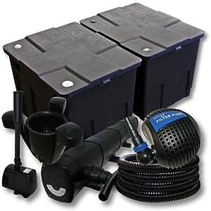 Kit de filtration avec Bio Filtre 60000l, 72W Stérilisateur, 85W Pompe de Fontaine, Skimmer et Tuyau