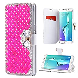 Galaxy Note 5 Wallet Case,Inspirationc and Made Luxury 3D Bling Crystal Rhinestone Leather Purse Flip Card Pouch Stand Cover Case for Samsung Galaxy Note 5--Rose Red