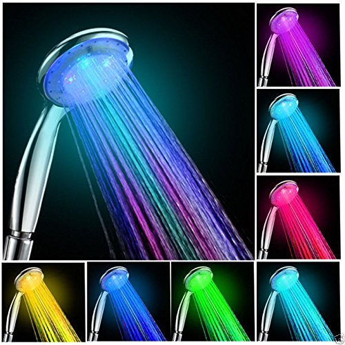 NEW Colorful Head Home Bathroom 7 Colors Changing LED Shower Water Glow...