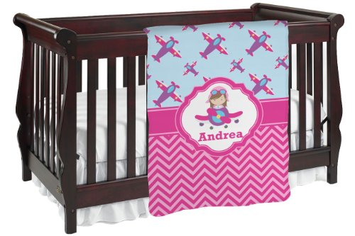 Airplane Theme - For Girls Personalized Baby Blanket front-981100