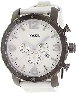 Mens Watch Fossil JR1423 Nate Chronograph Stainless Steel Case White Tone Dial Mens Watch Fossil J