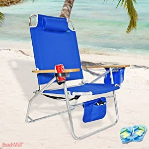 Big Jumbo Heavy Duty 500 lbs XL Aluminum Beach Chair for Big & Tall Color SC: Blue
