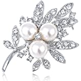 Faux Pearl Bead Crystal Rhinestone Leaf Stem Winter Bridal Fashion Pin Brooch